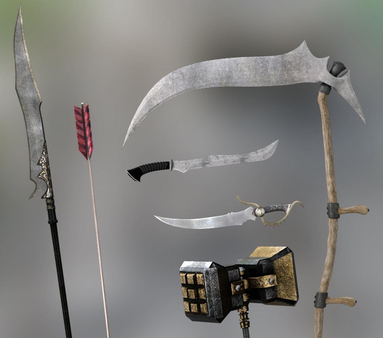 3d rendering of medieval weapons