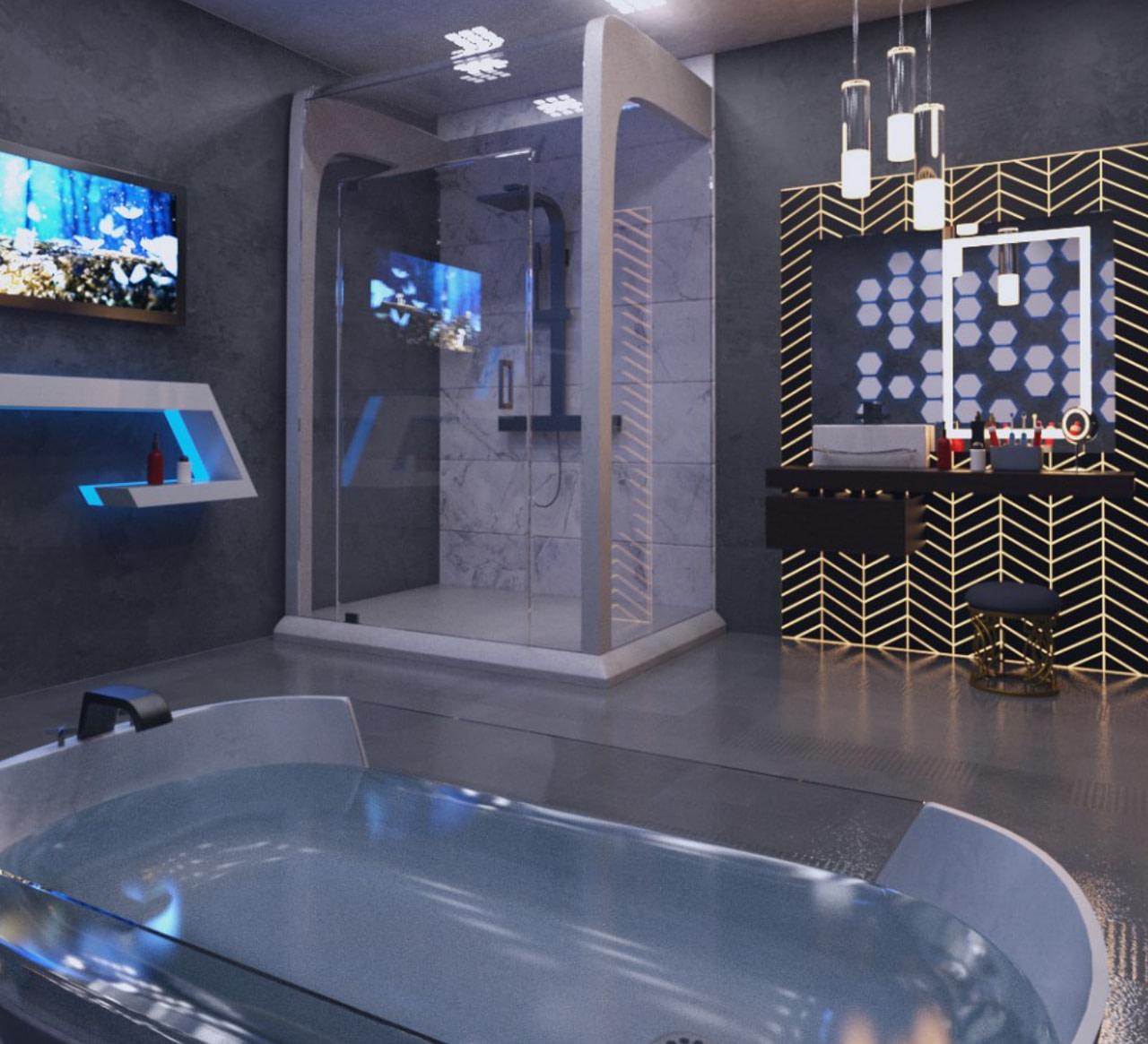 futuristic bathroom 3d model