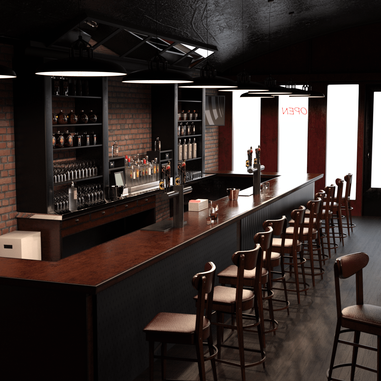 Another view on the bar showing a row of chairs at the counter