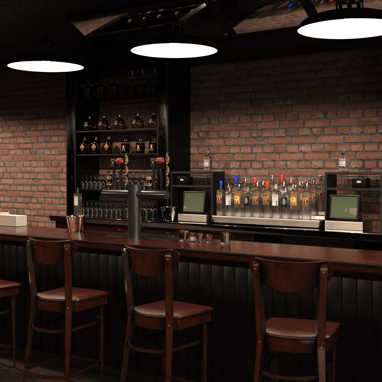 3d bar model showing the counter with three chairs and multiple drink props in the background