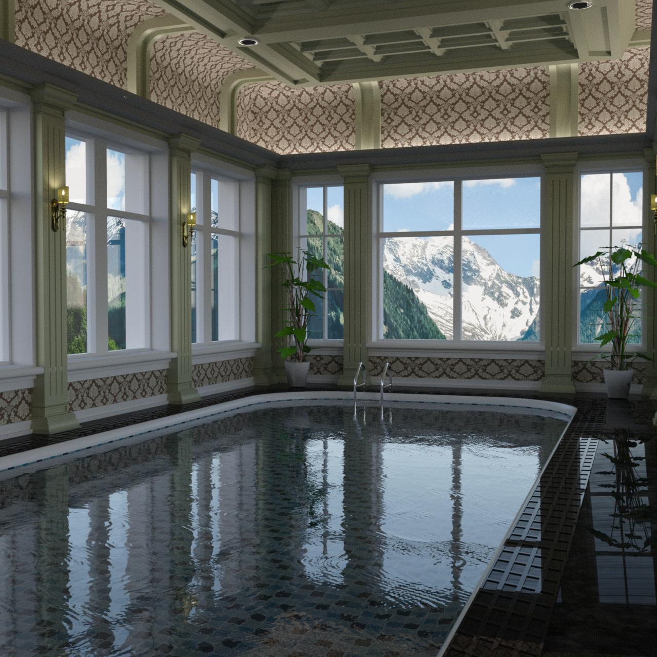 Rendering of a classic indoor pool 3d model