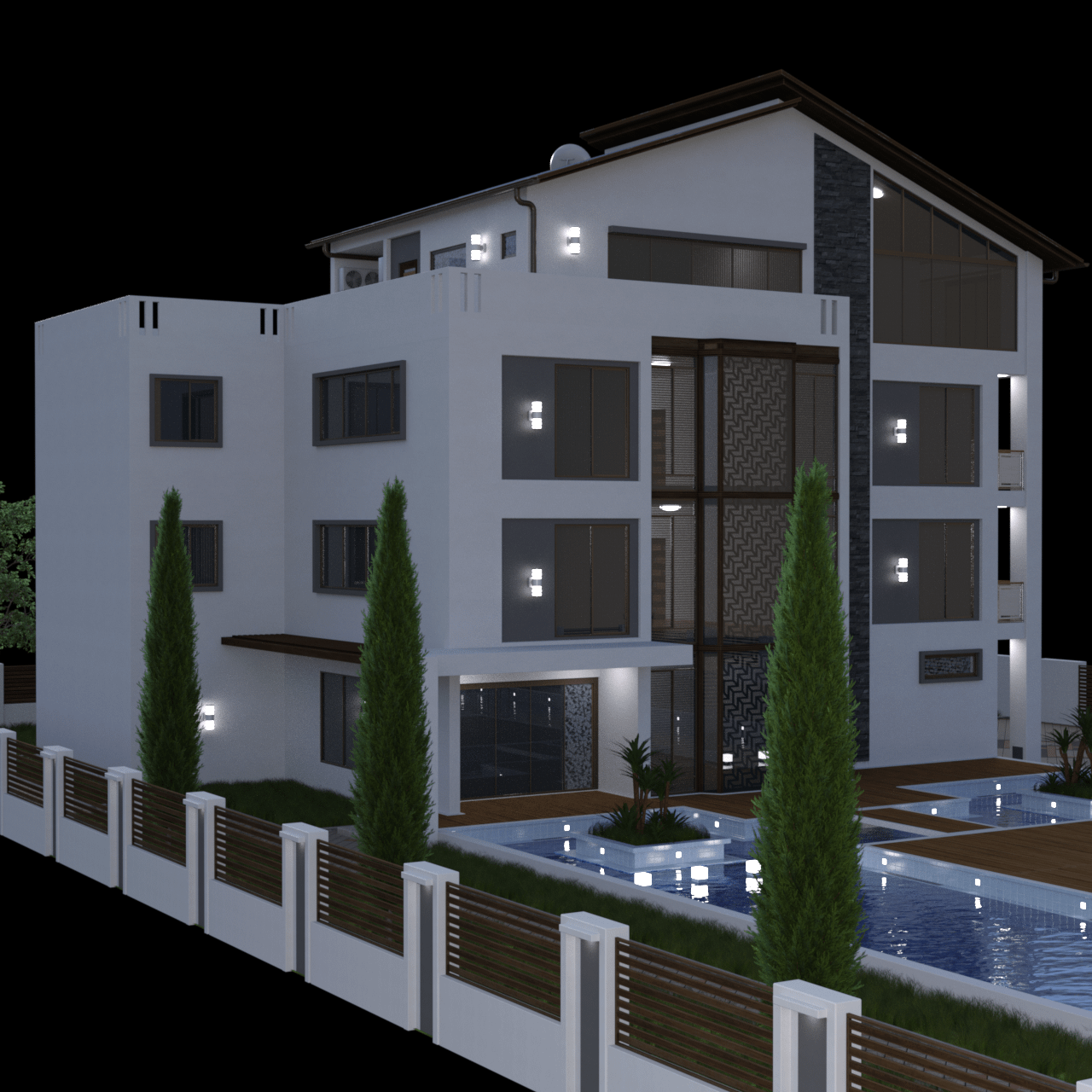 Modern house 3d model rendered by night