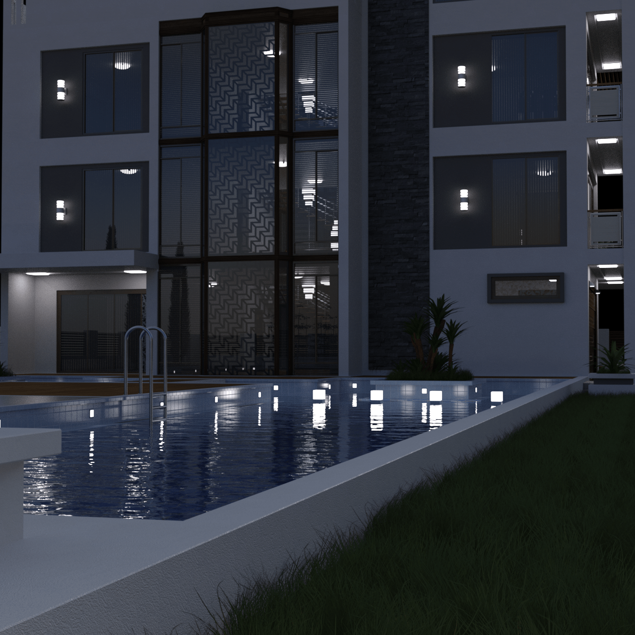 House 3d model with pool in front