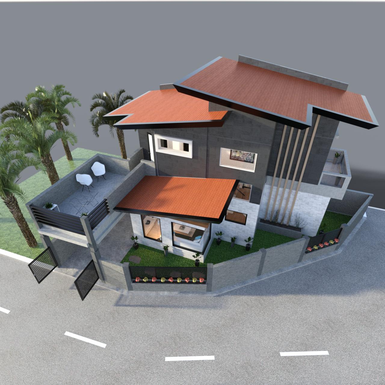 Corner Lot House 3d model outside view