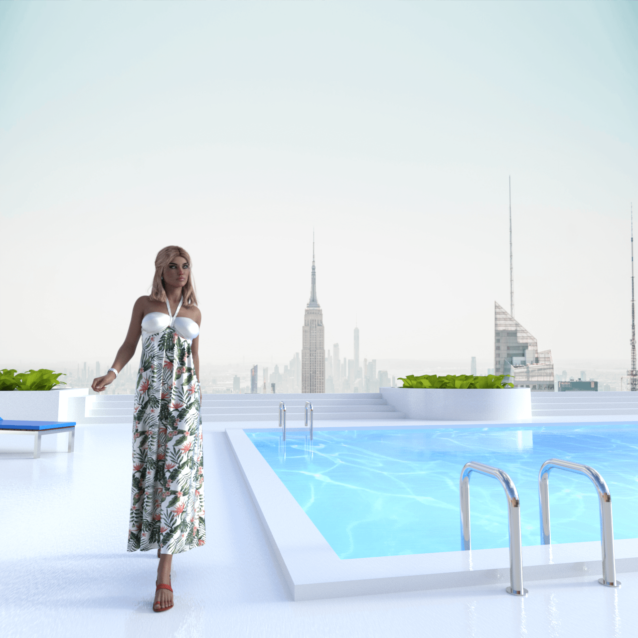 daz dforce dress with clothing simulation applied
