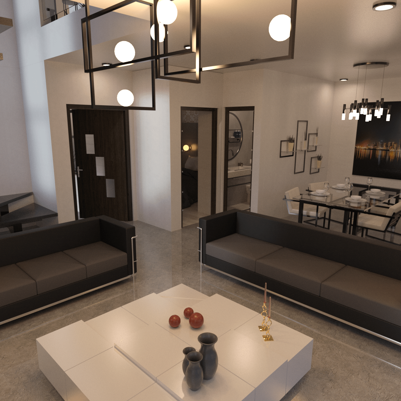 Interior of the modern vacation house 3d asset
