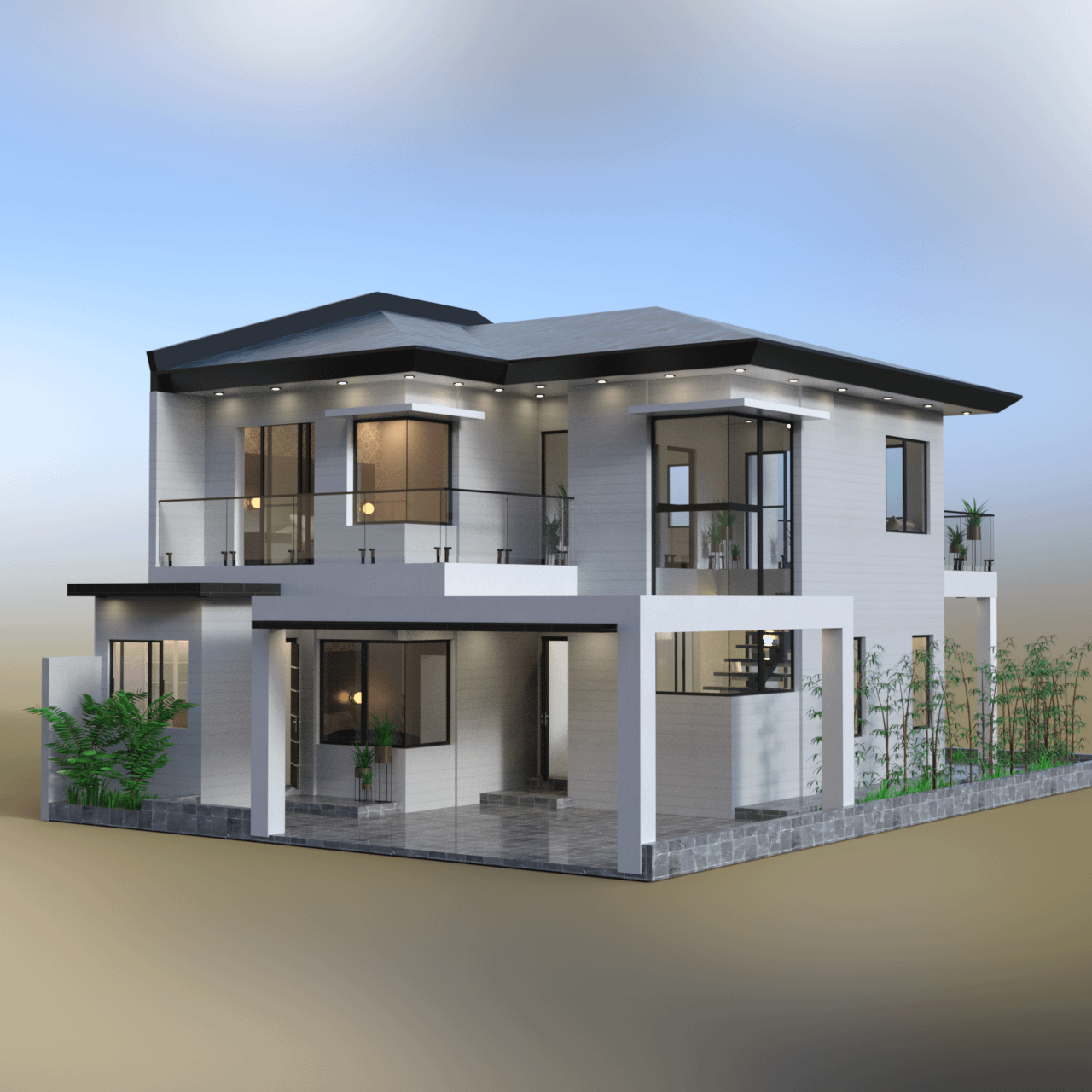 Outside view of the vacation house 3d model