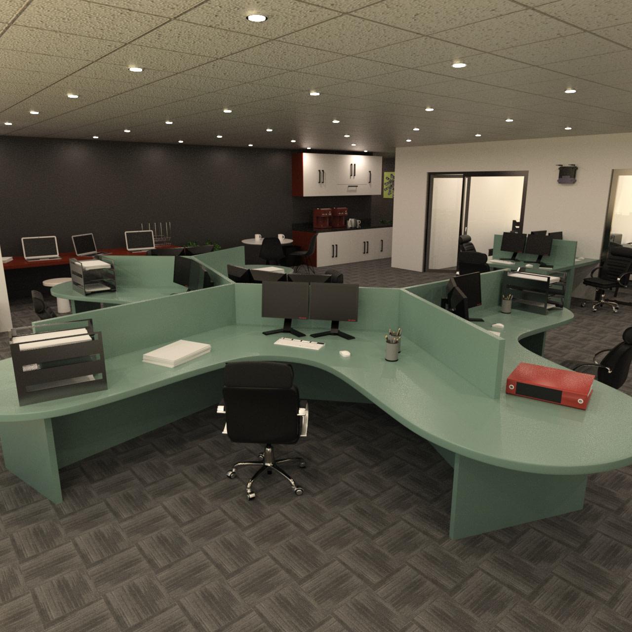 Modern Office Space 3d Model