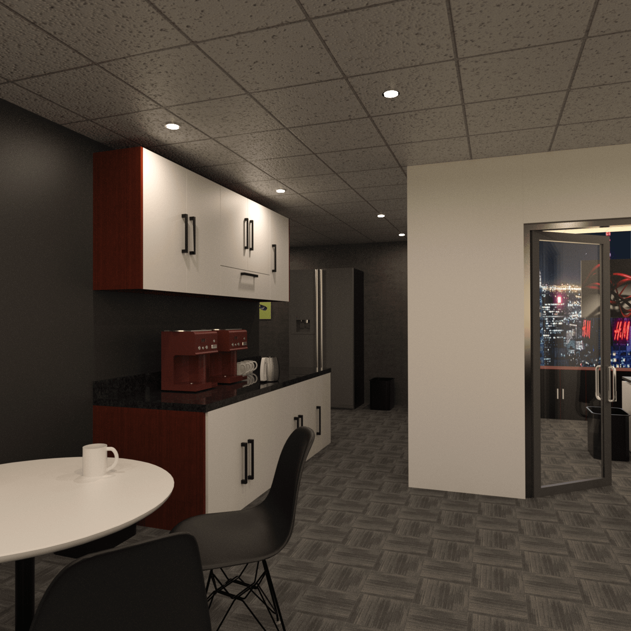 3d model of a coffee kitchen inside the office