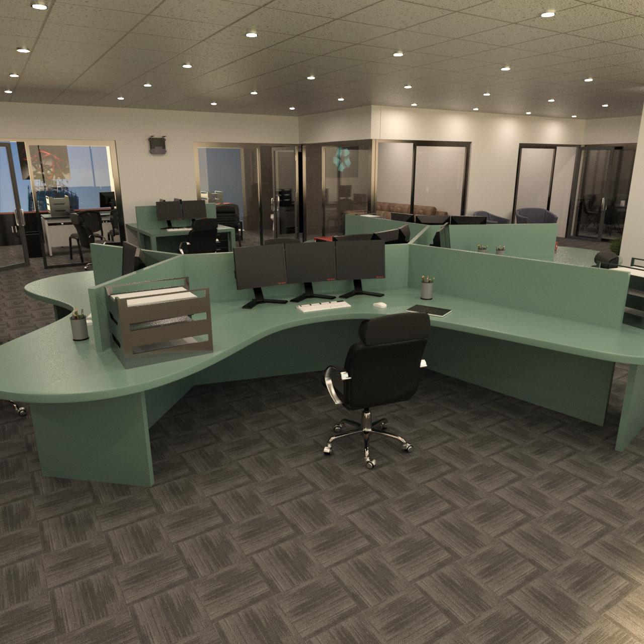 3d model of computer desk setup