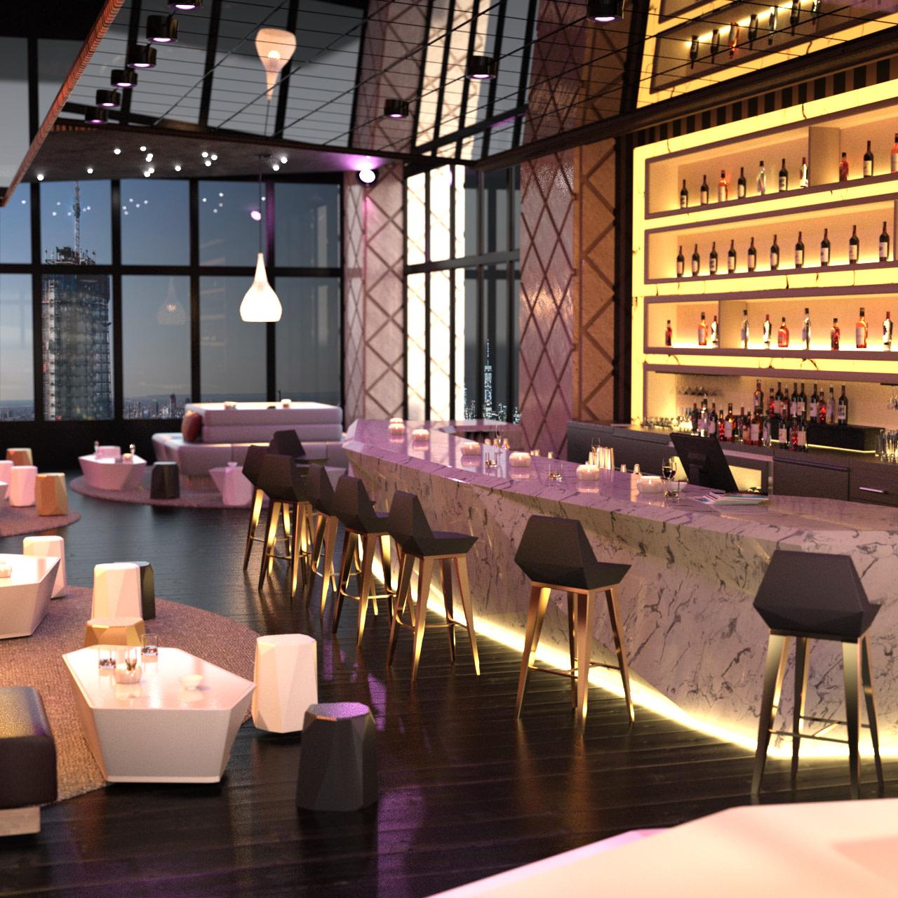 Bar interior with glass windows showing a skyscraper skyline