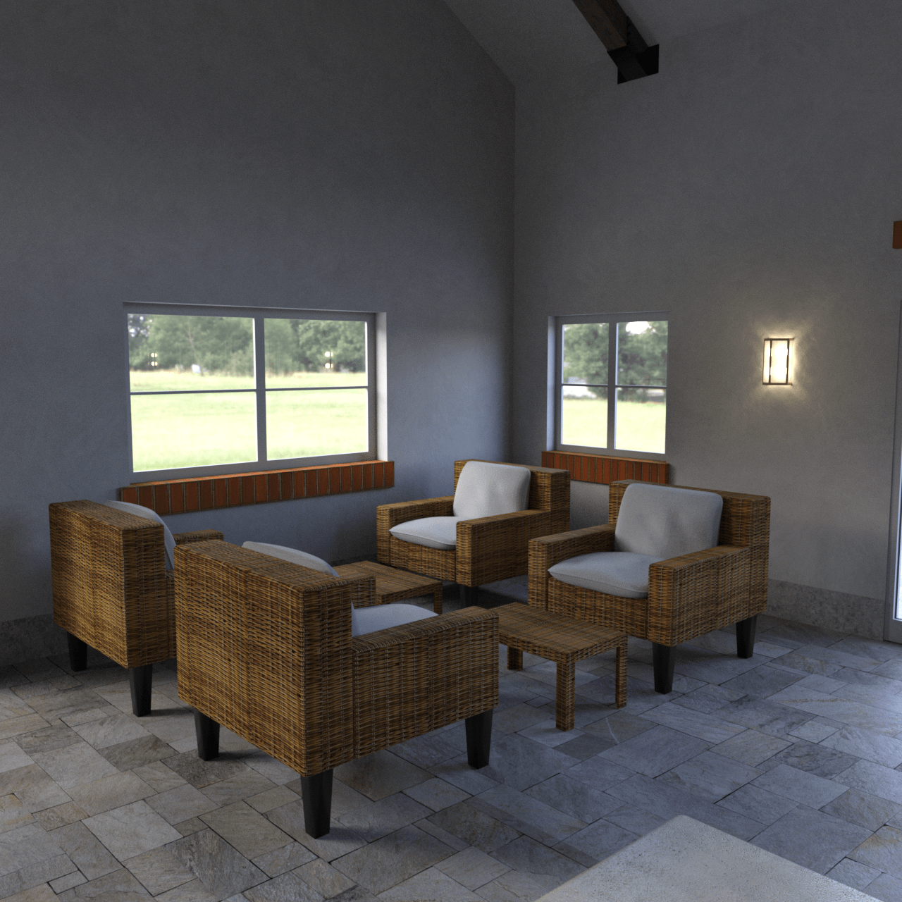 3d models of furnitures used in the pool house