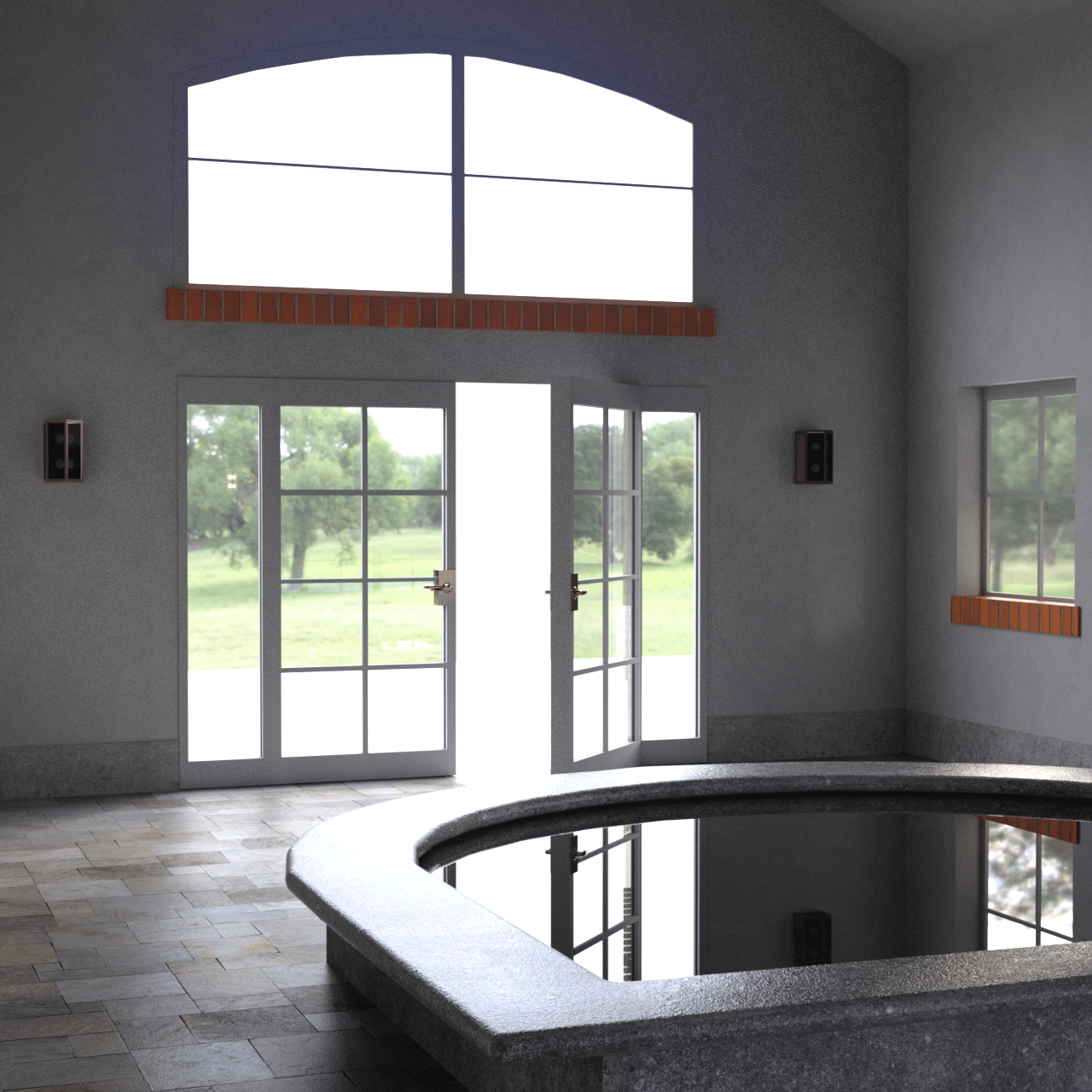 Close up of the exit doors and jacuzzi