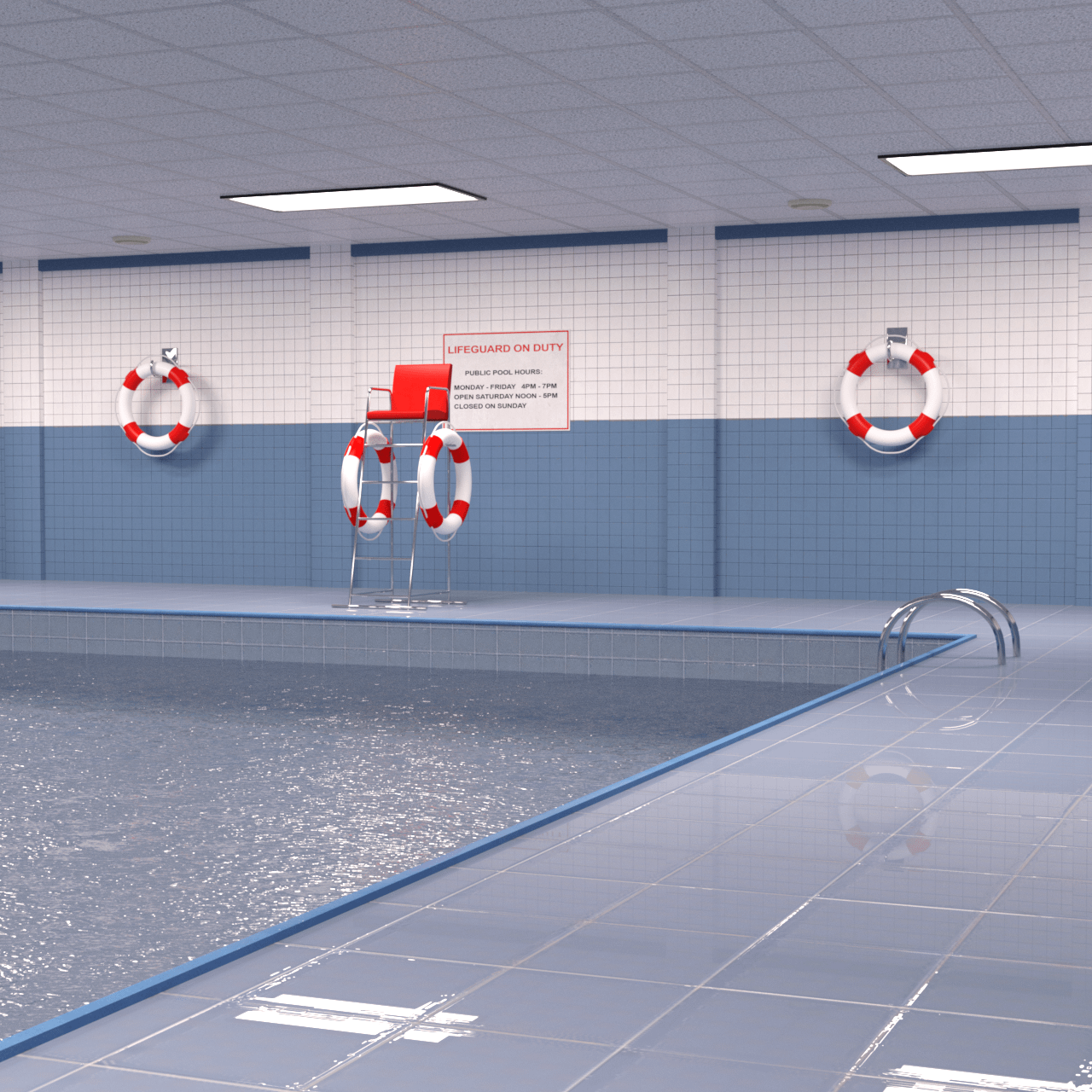 Alternative camera perspective of the public indoor pool 3d model