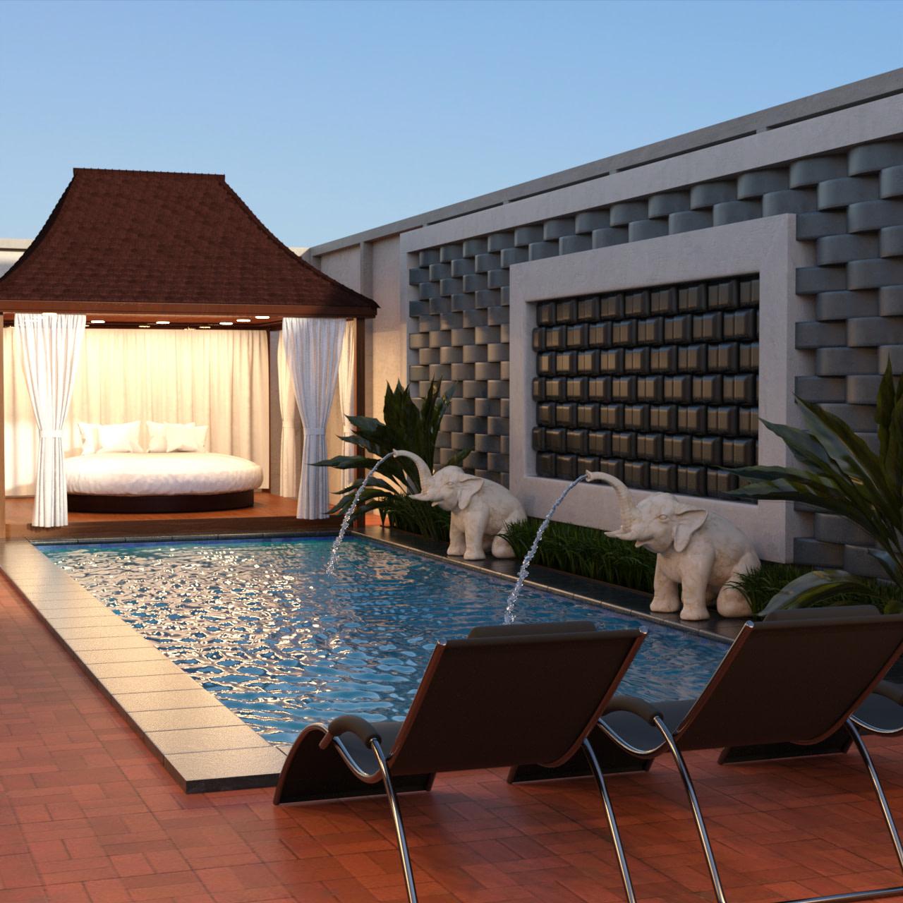 Pool Villa 3d Model