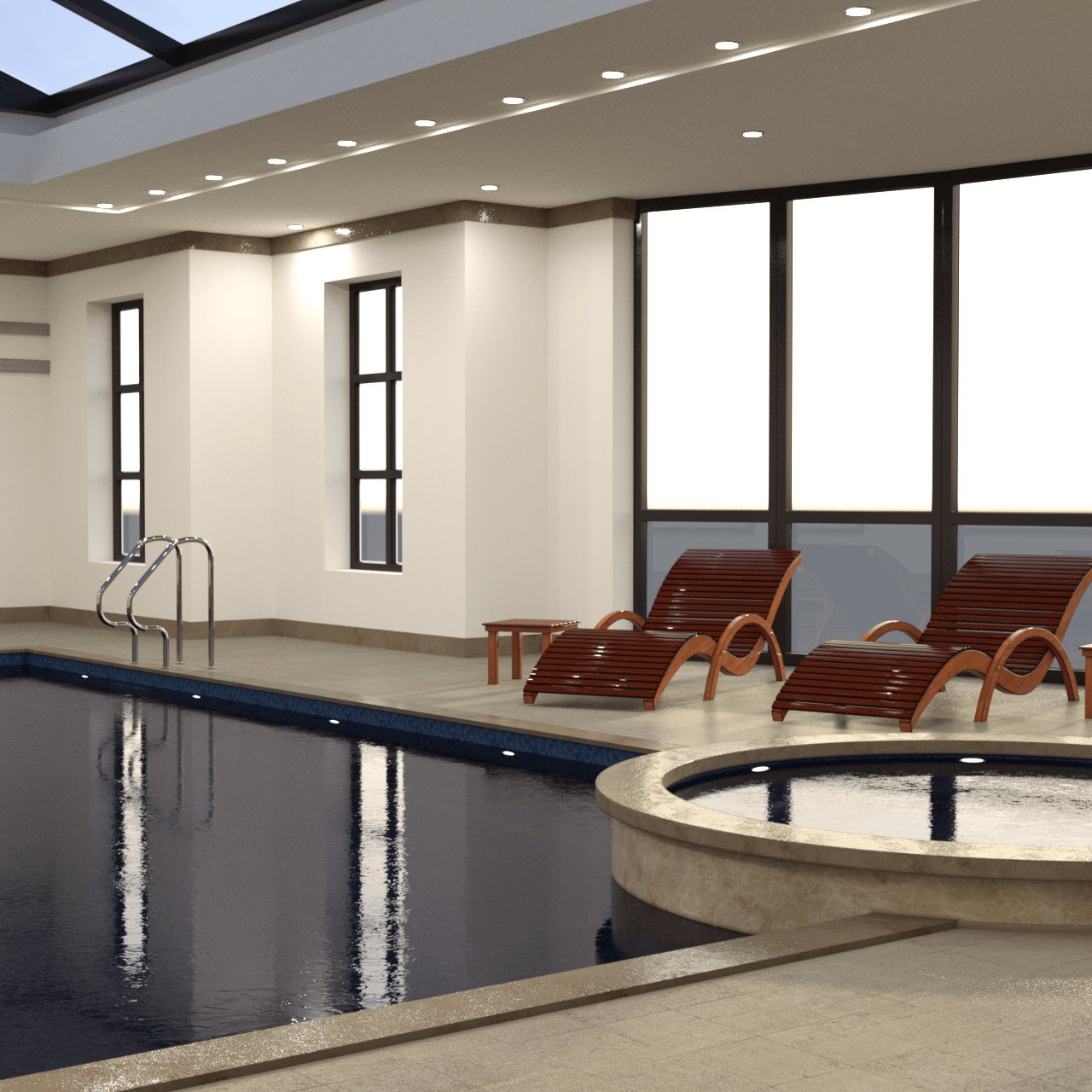 Rendering of a pool with jacuzzi 3d model