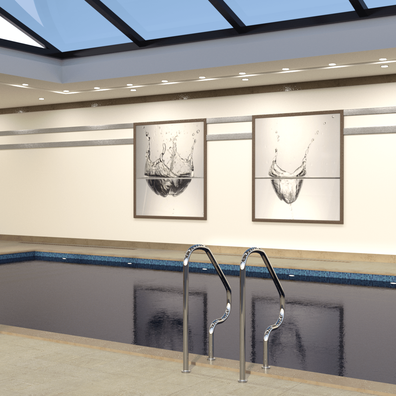 Pool entrance with background showing also two paintings and a glass roof