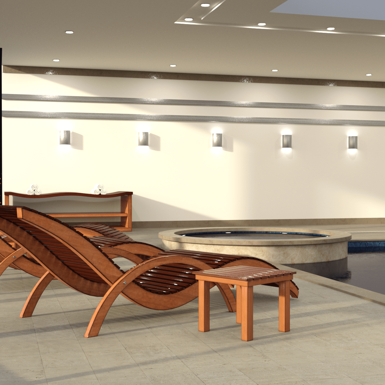 3d model of a deck chair with small table in front of the jacuzzi