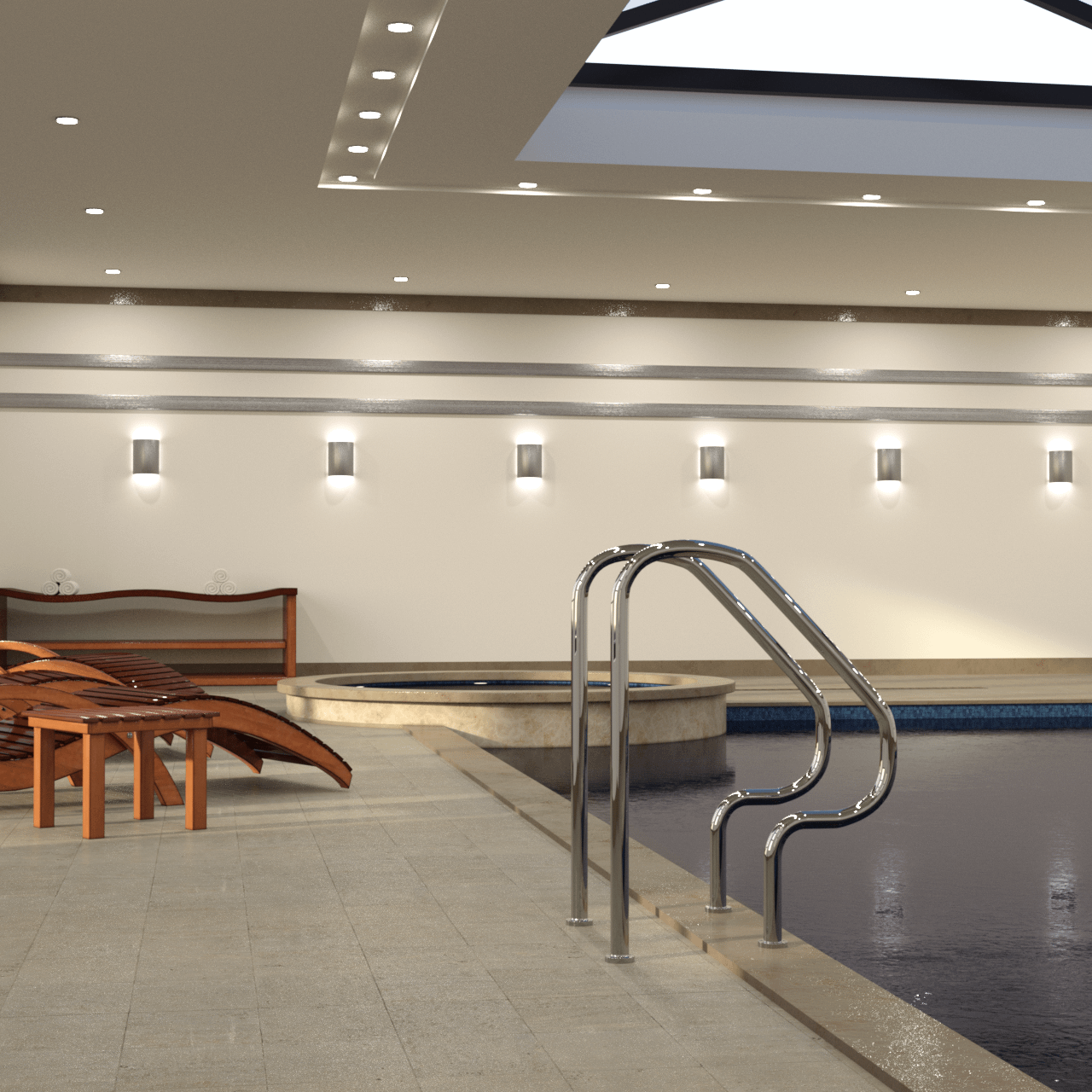 Rendering of a pool entrance and some deck chairs in the background