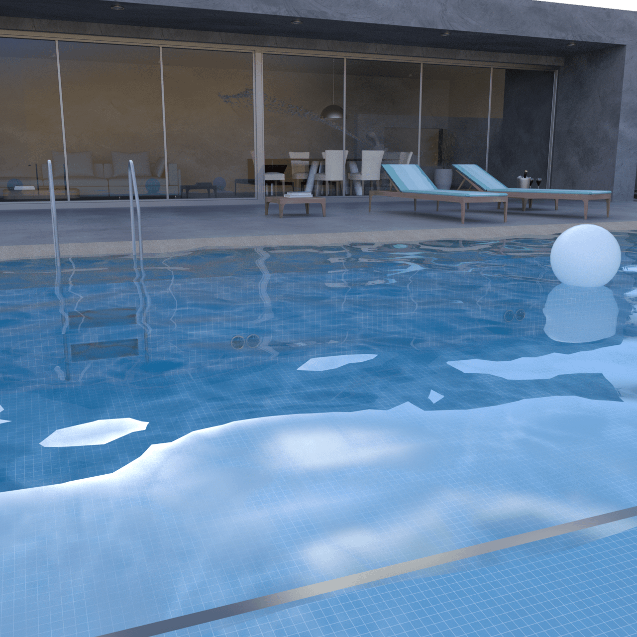 Swimming pool 3d model with a house with big windows in the background