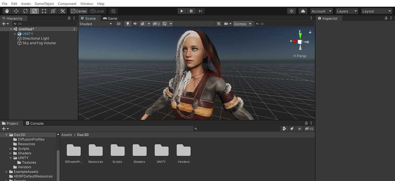 unity showing imported daz character