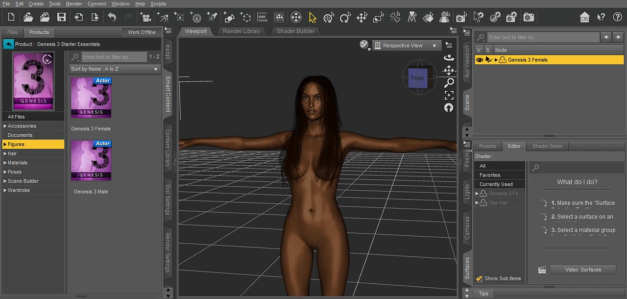 daz studio genesis 3 female figure viewport taia hd