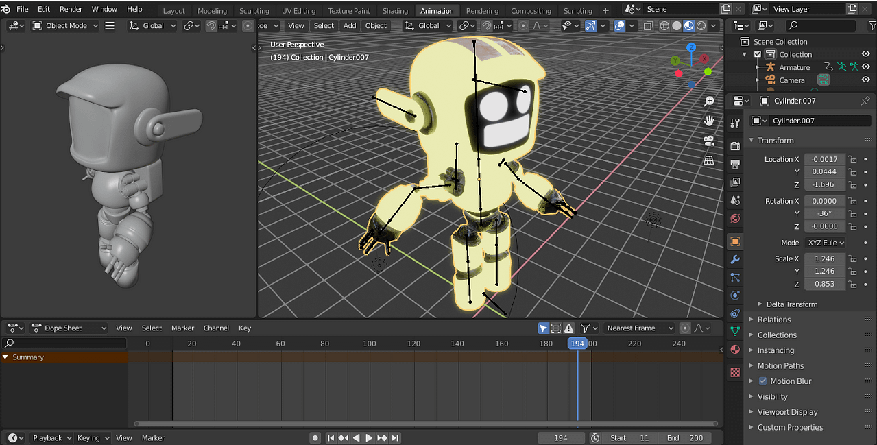 blender interface for animations