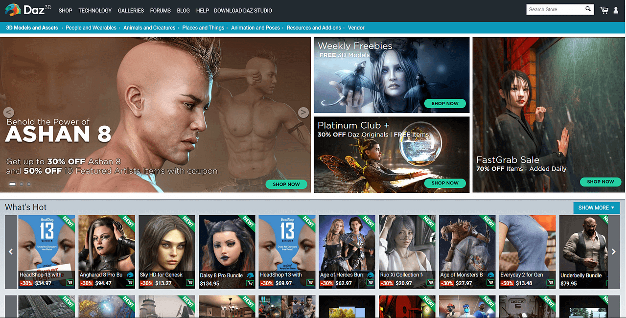 daz store main page