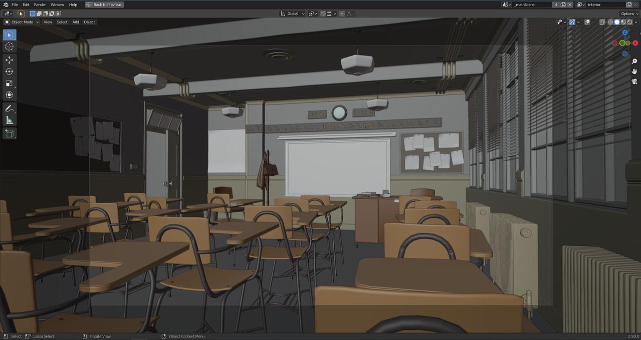 blender post processing classroom scene