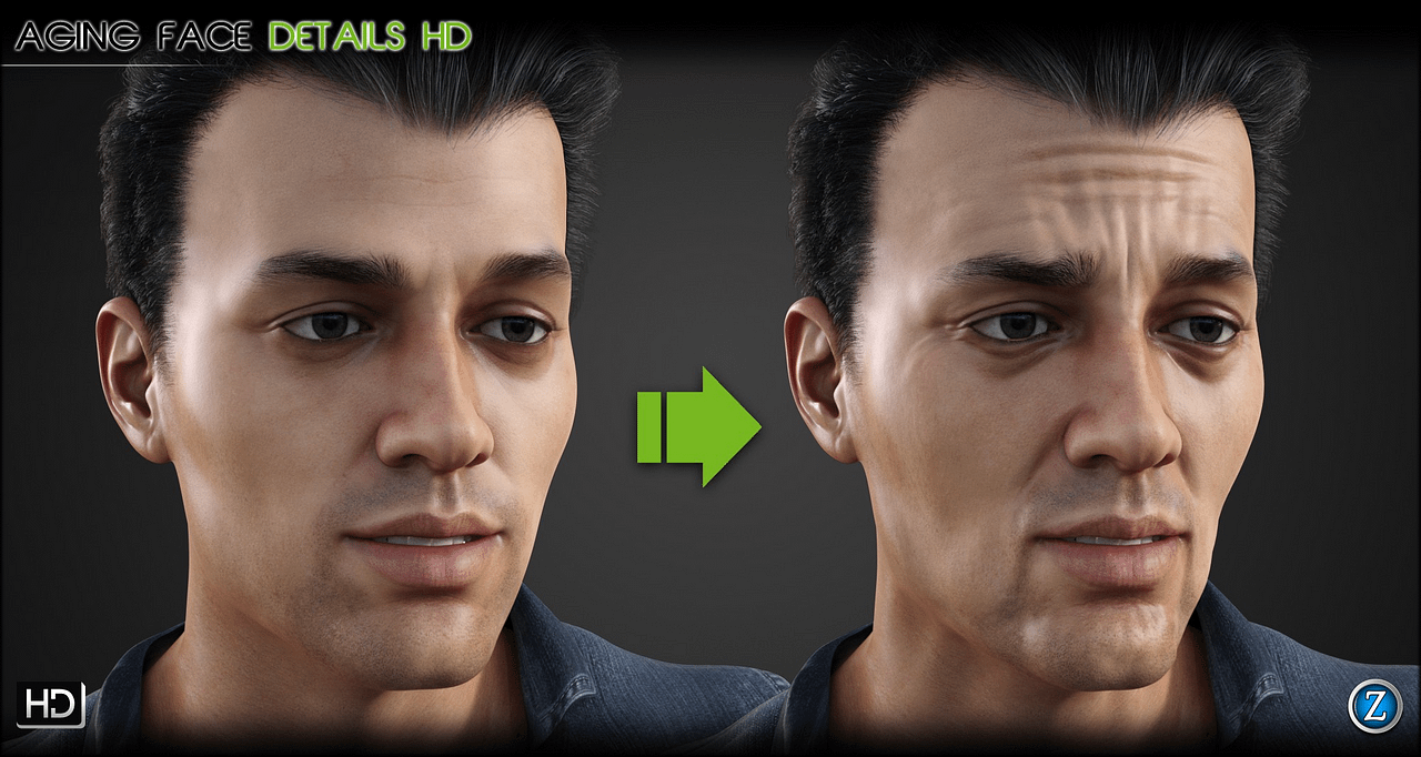 Aging face details for genesis 8 daz males
