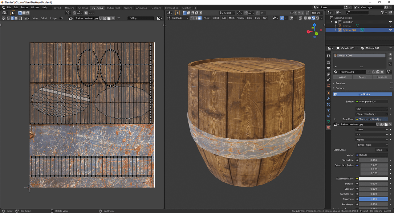 blender two textures on one UV map
