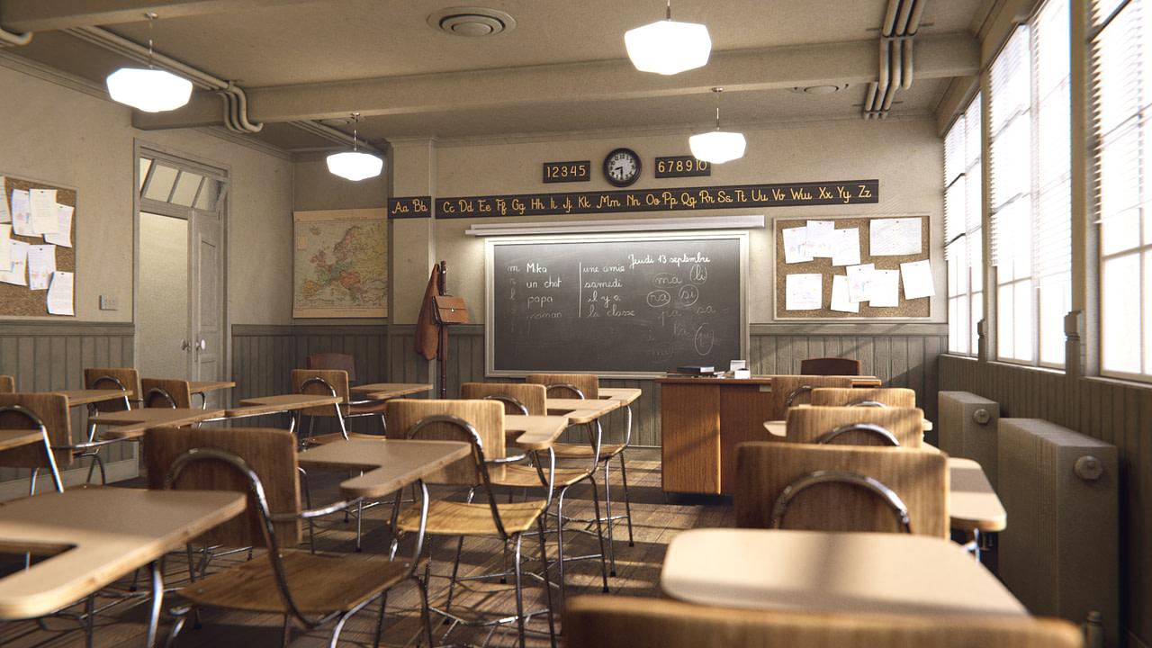 blender post processing classroom render