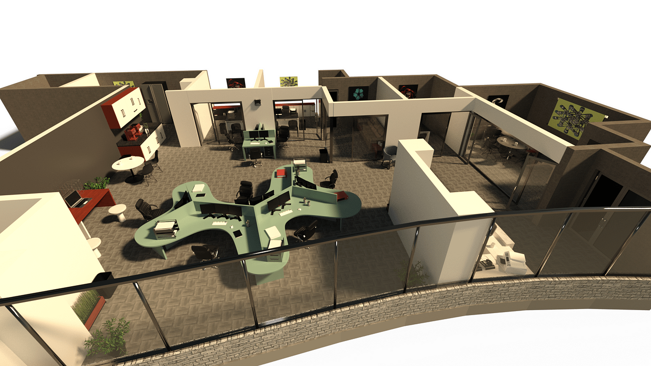 Overview of the office space 3d model from top.