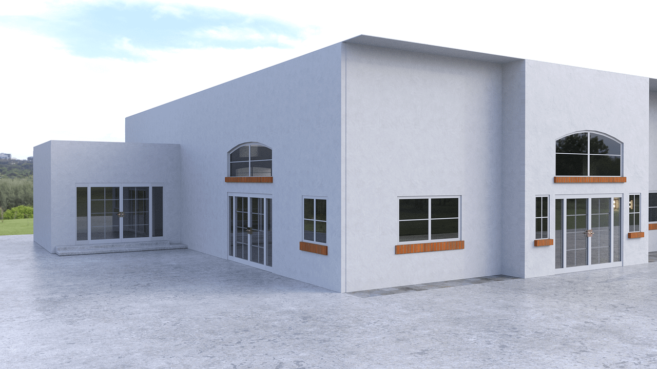 Outside view of the 3d model