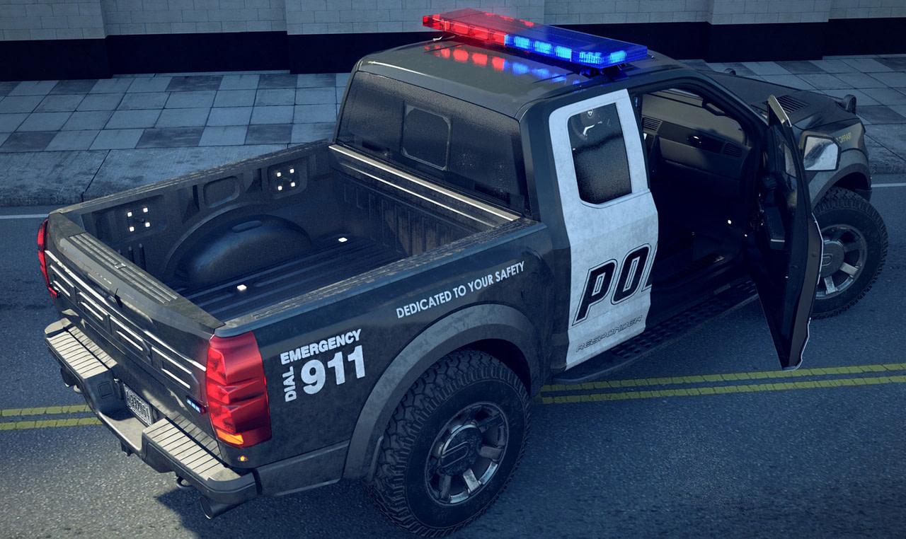 metro police truck 3d model backside