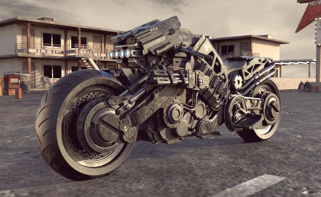 cyborg motorcycle 3d model