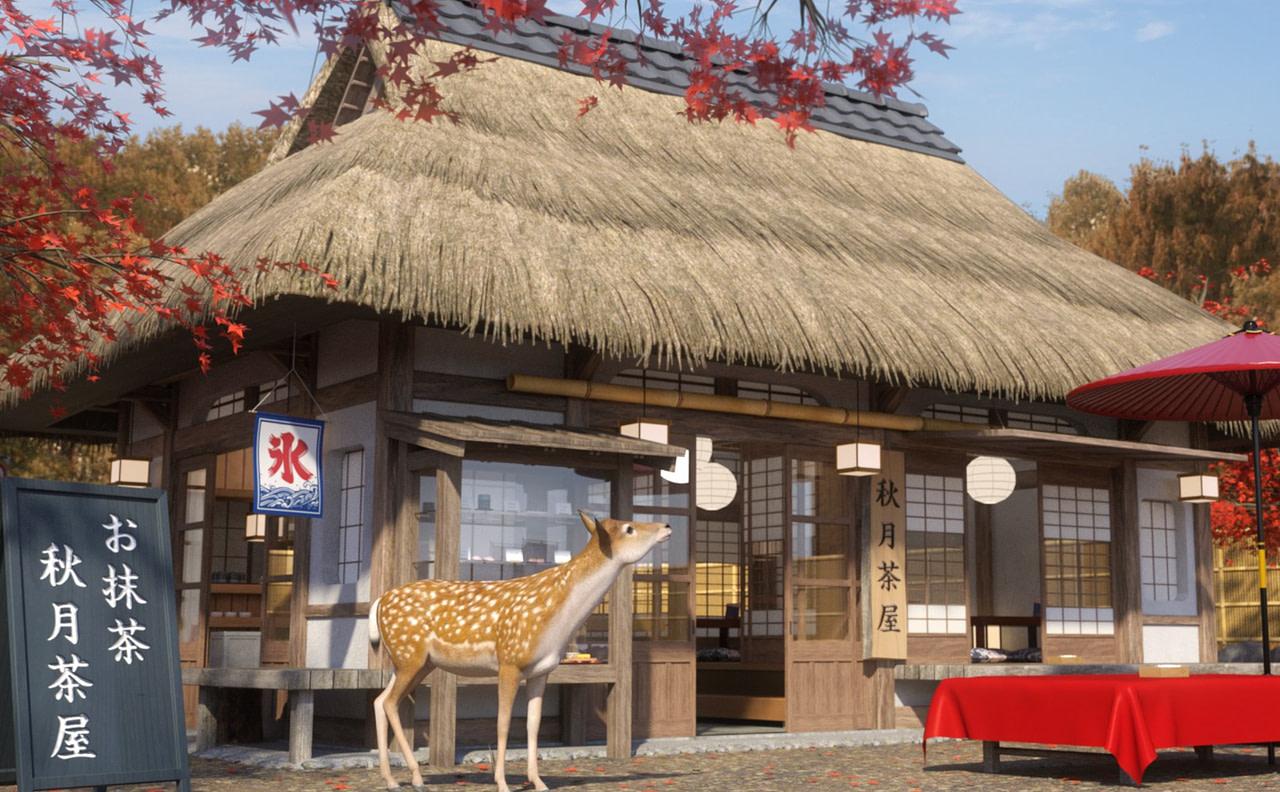 japanese traditional tea shop daz3d model