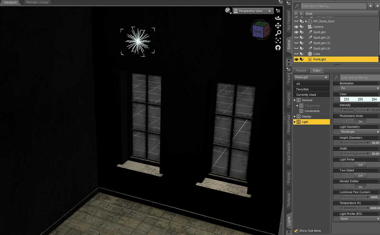 daz studio indoor point light