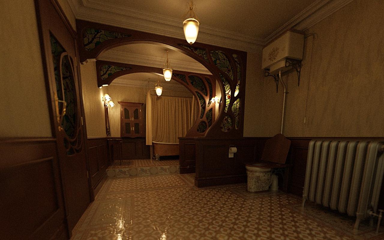 art nouveau bathroom 3d model