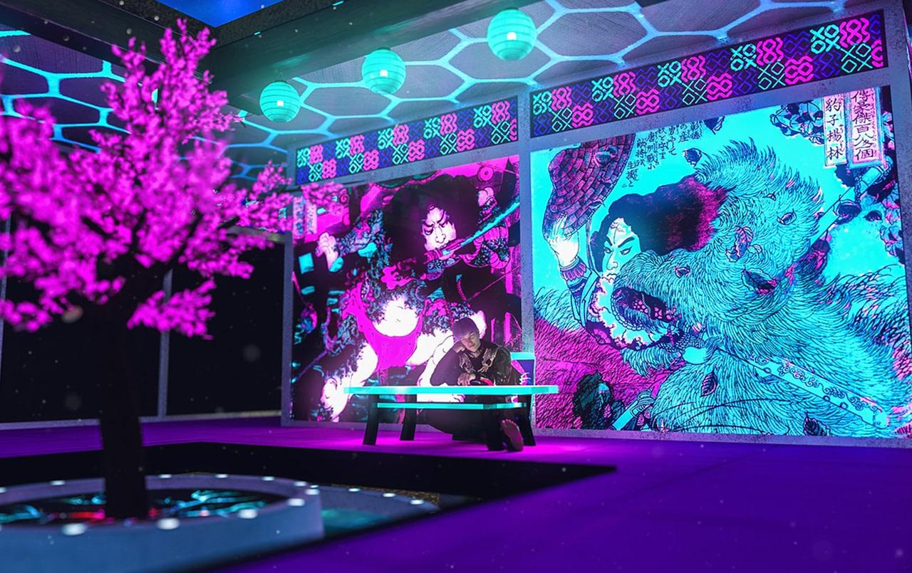 japanese cyber tree room 3d model