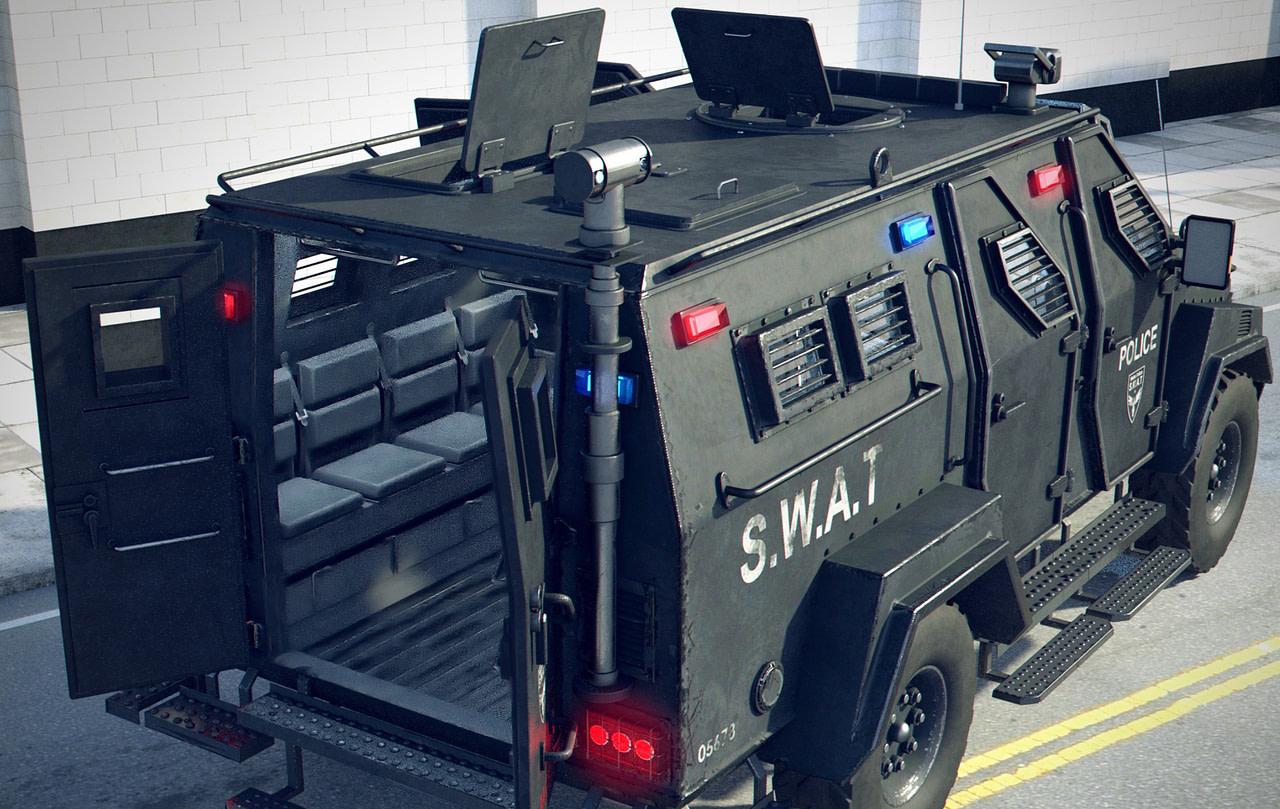 backview swat vehicle 3d model