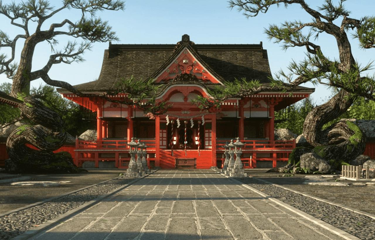 japanese shinto shrine 3d model