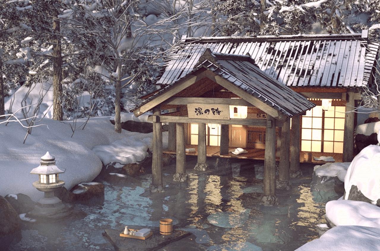 daz3d japanese winter spa model