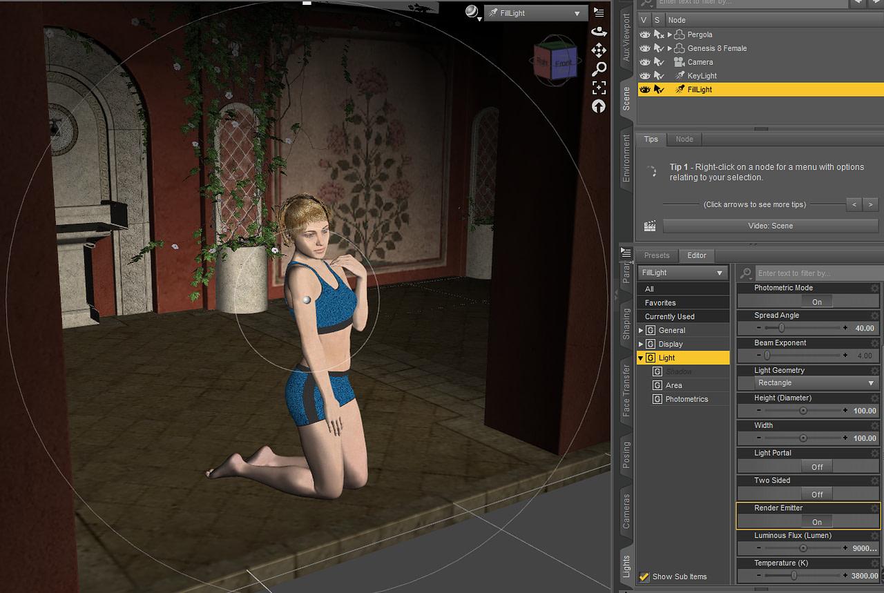 daz studio setup of a fill light for daz3d iray rendering