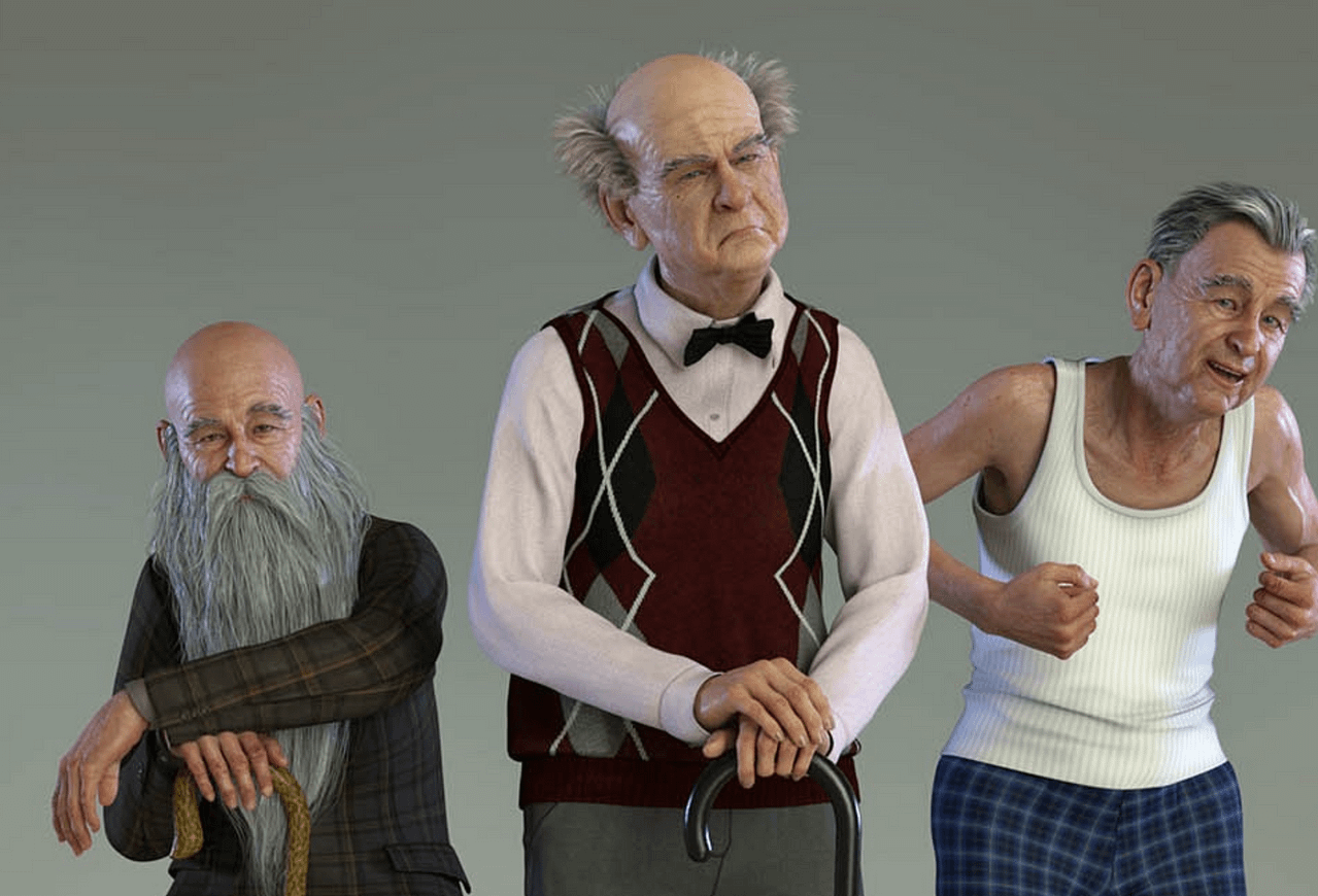 old man poses daz product