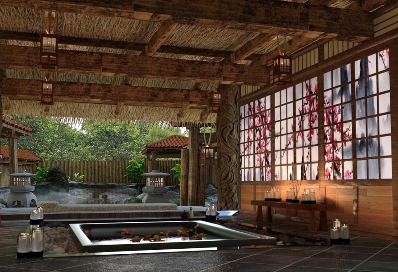 japanese restaurant spa hot spring 3d models