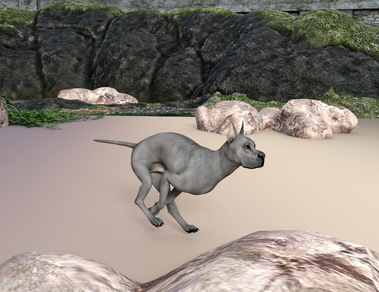 daz studio animation of a running dog