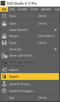 daz export obj