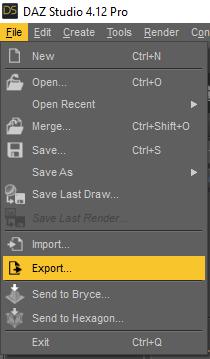 daz export texture