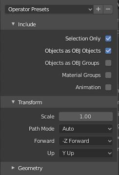 option settings obj export file blender